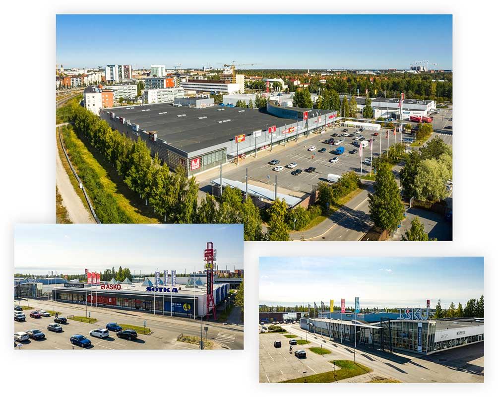 Jussi Real Estaten omistamia kiinteistöjä Oulussa